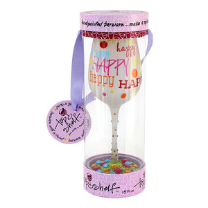 """Happy Happy"" Wine Glass"