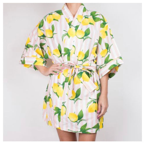 Lemon Print Robe