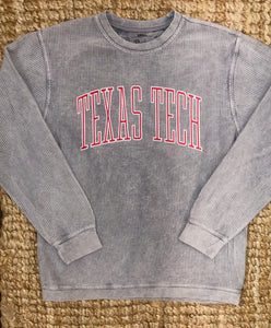 Texas Tech corded crew- stone