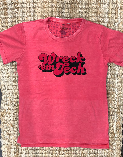 Wreck 'em Tech red on red tee