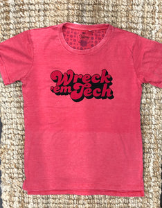 """Wreck 'em Tech"" red on red tee"