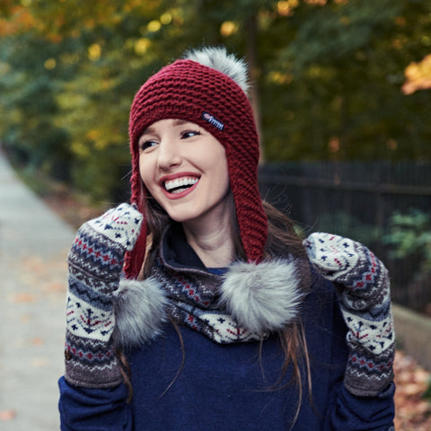 Woman wearing Everest Designs Nepali wool Tenzing Accessories in Natural with Arctic Earflap in Maroon