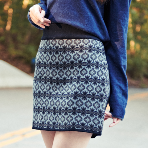 Woman wearing Everest Designs Nepali wool Palpa Skirt in Charcoal