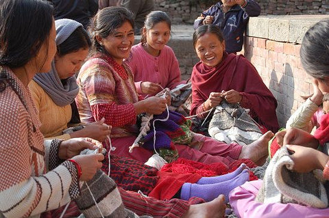 A typical Bhaktapur knitting clutch of six Nepali women