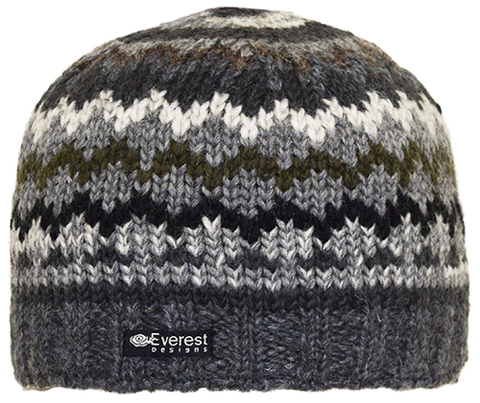 Alpenglow Beanie - A mid-weight wool beanie in green and grey