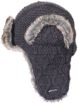Anatoli Fur Hat - Cable knit charcoal Russian style trapper hat