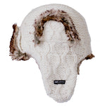 Anatoli Fur Hat - Cable knit ivory Russian style trapper hat