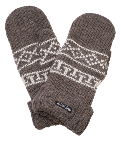 Anish Mittens - Cuffed wool mittens with windshield protection in mocha brown