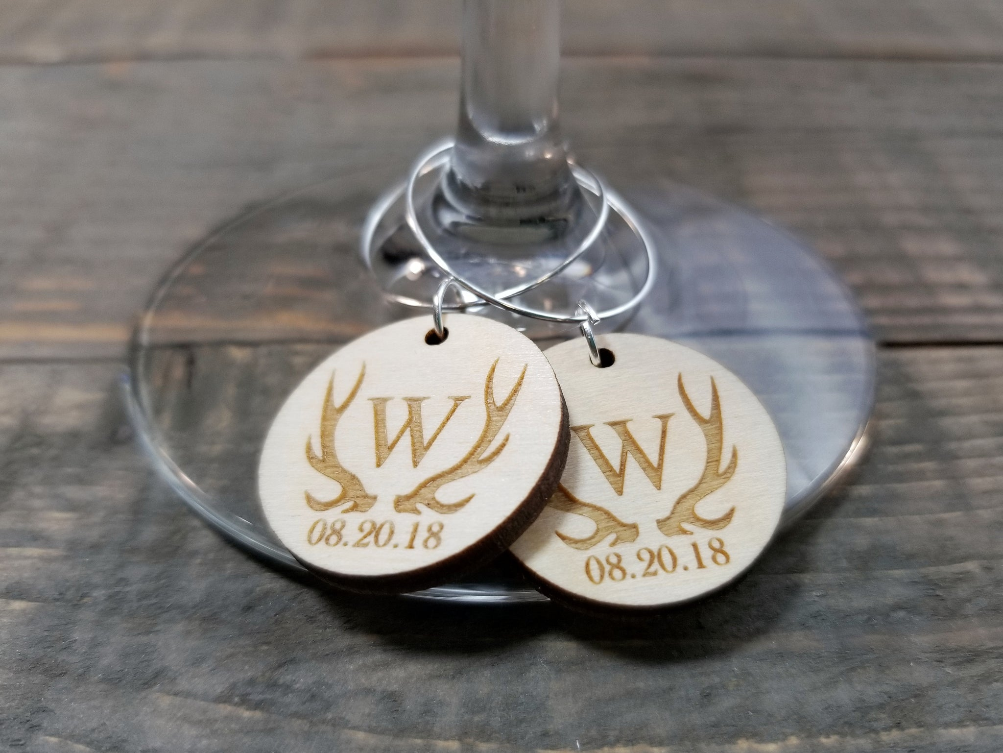 Laser Engraved Wedding Favor Wood Wine Charm Anogram With Date