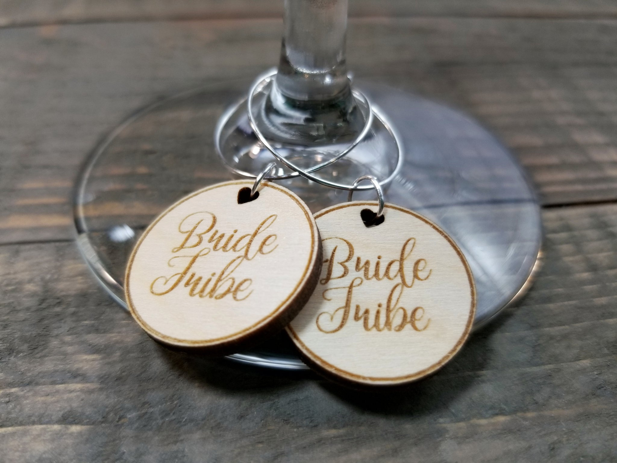 bridal shower wine glass charms bride tribe