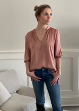 GANSEVOORT SATIN BLOUSE ANTIQUE ROSE
