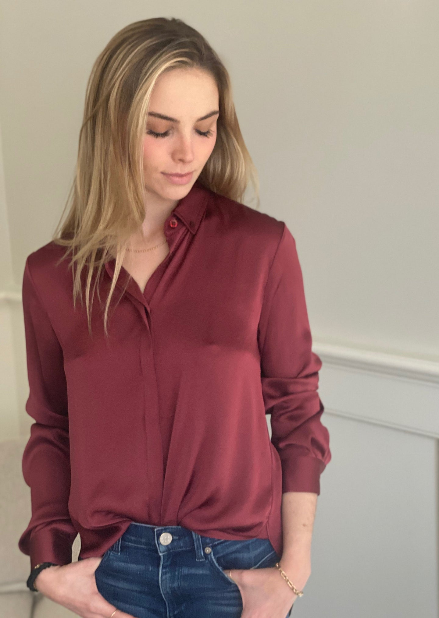 PERRY PERFECT BUTTONDOWN BURGUNDY