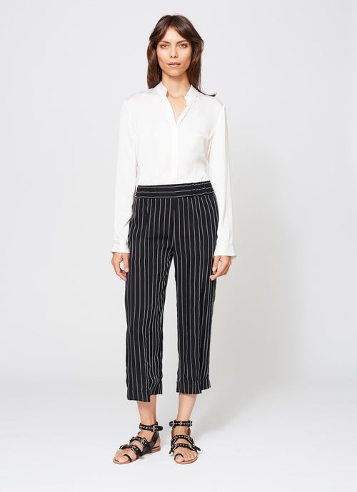 CHRISTOPHER PANT BLACK PINSTRIPE