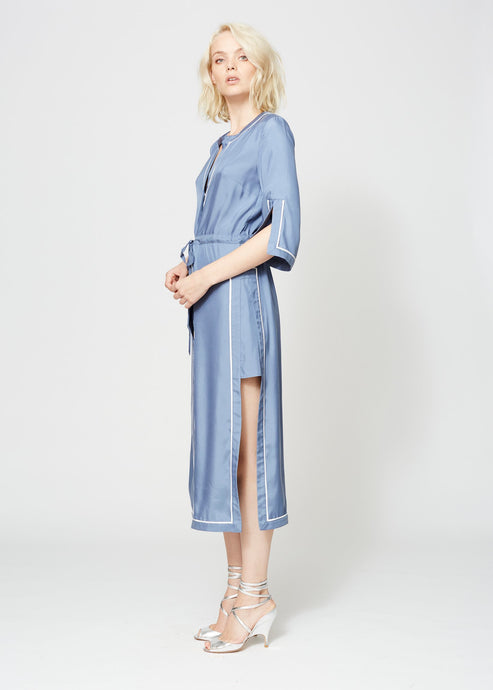 WAINSCOTT ROBE DRESS INDIGO