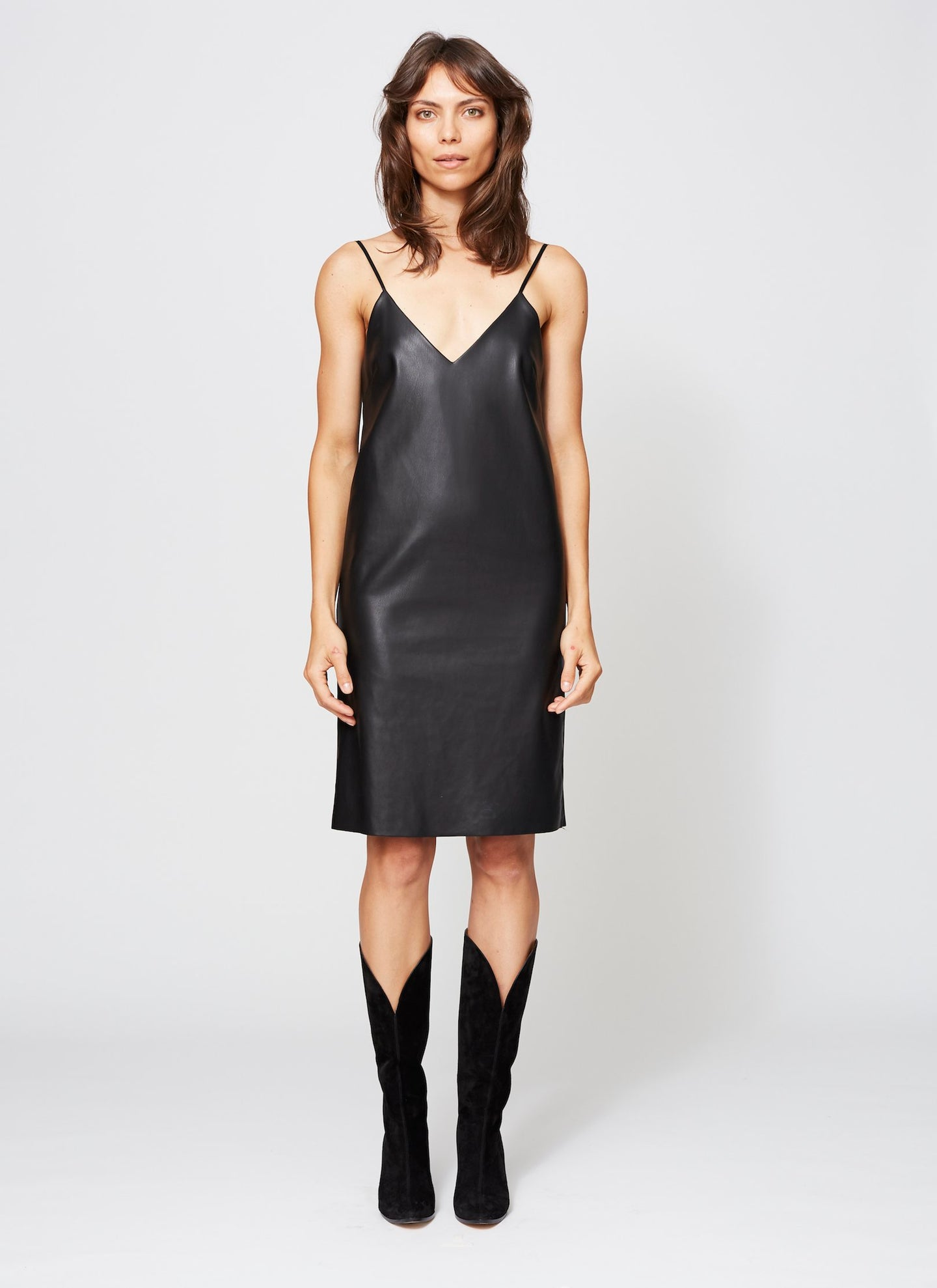 BLEEKER FAUX LEATHER DRESS BLACK