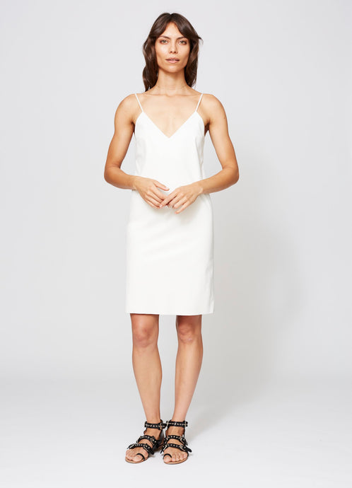 BLEEKER FAUX LEATHER DRESS IVORY