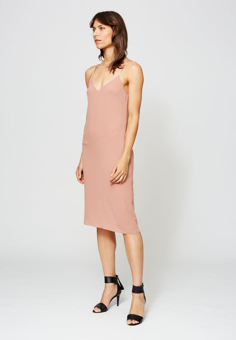 VANDAM SLIP DRESS ANTIQUE ROSE