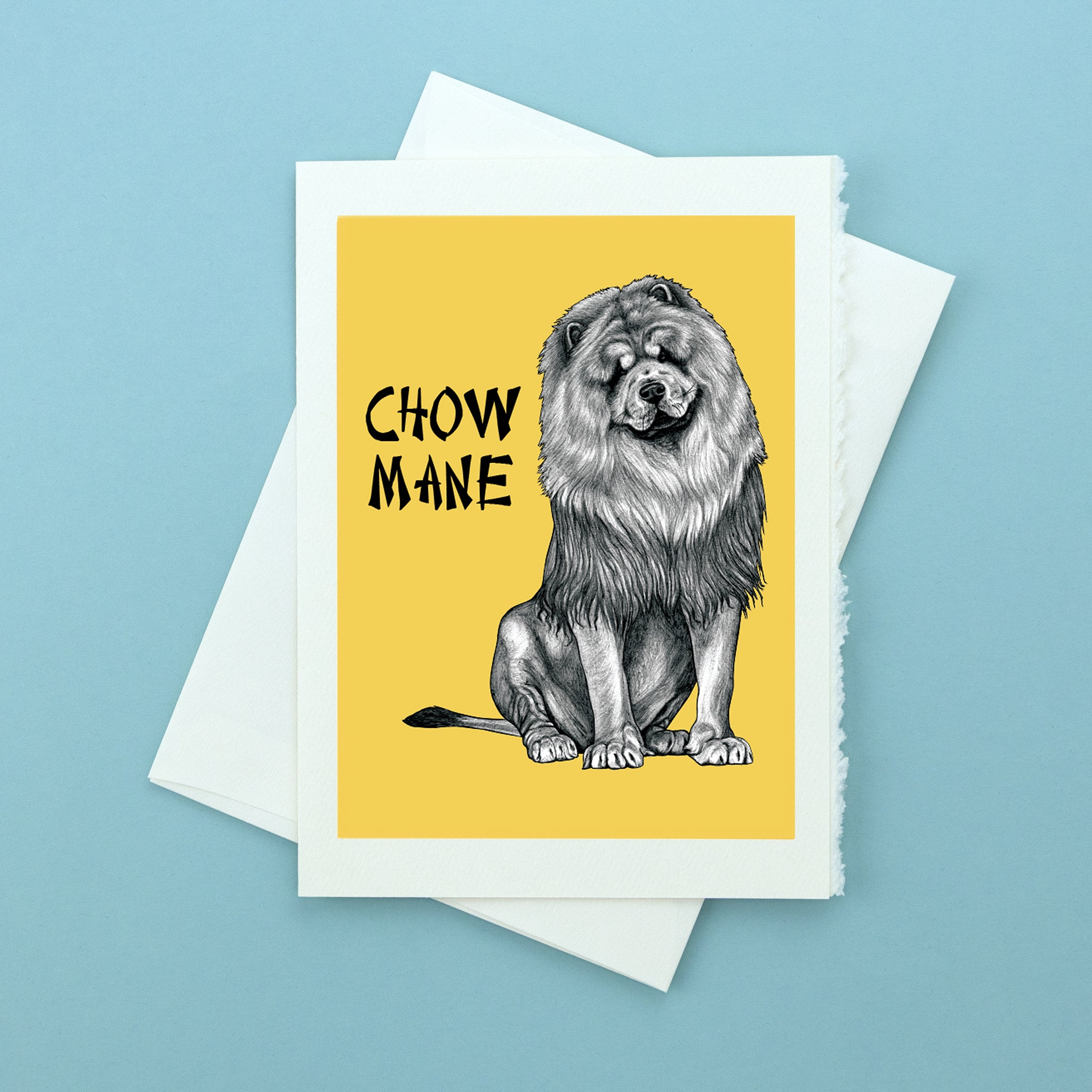 "Chow Mane 5x7"" Greeting Card"