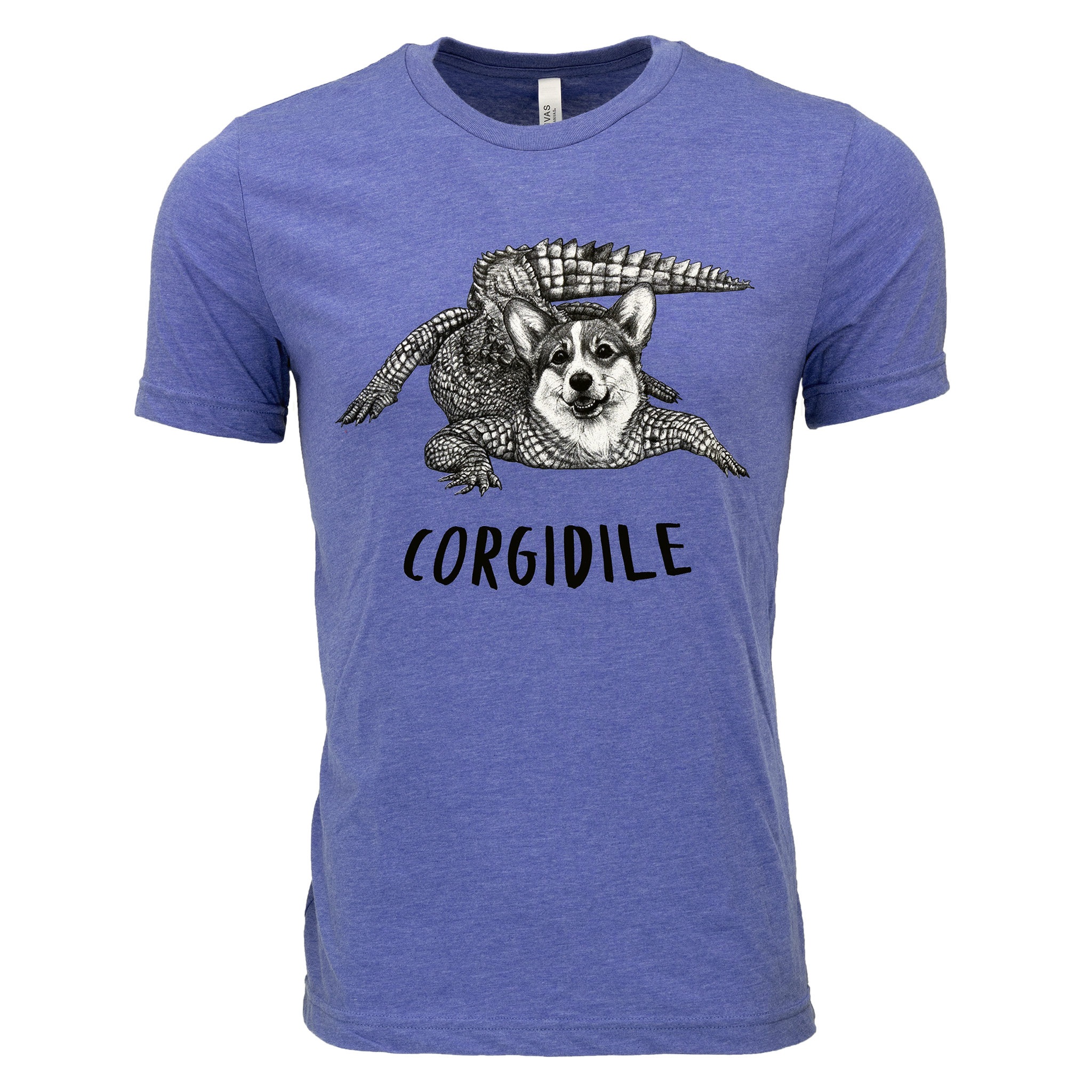 Corgidile Adult T-Shirt | Heathered Blue