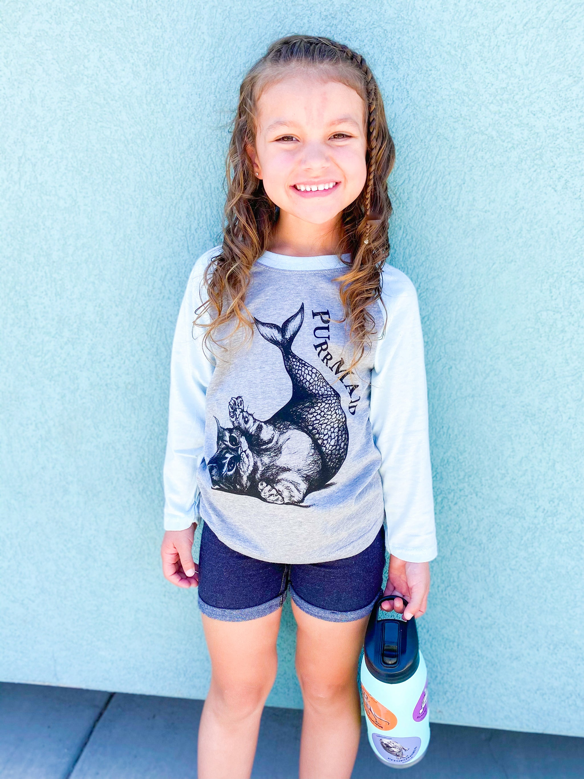 Purrmaid Kids T-Shirt | Light Blue & Grey