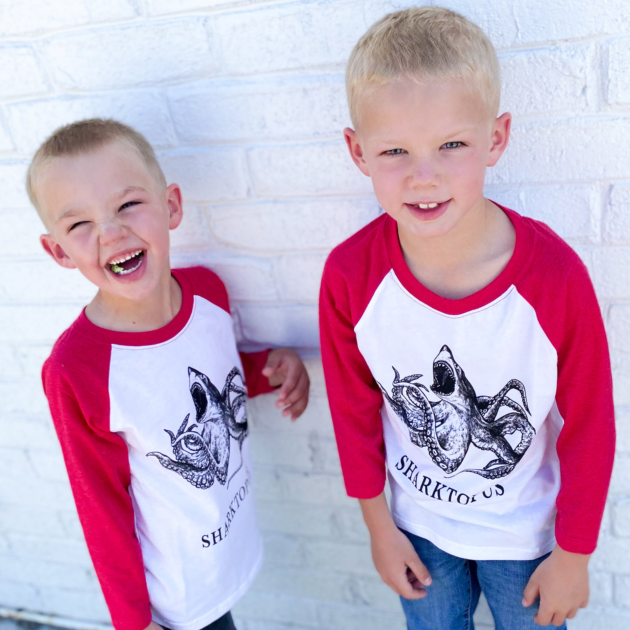 Sharktopus Kids T-Shirt | Red & White