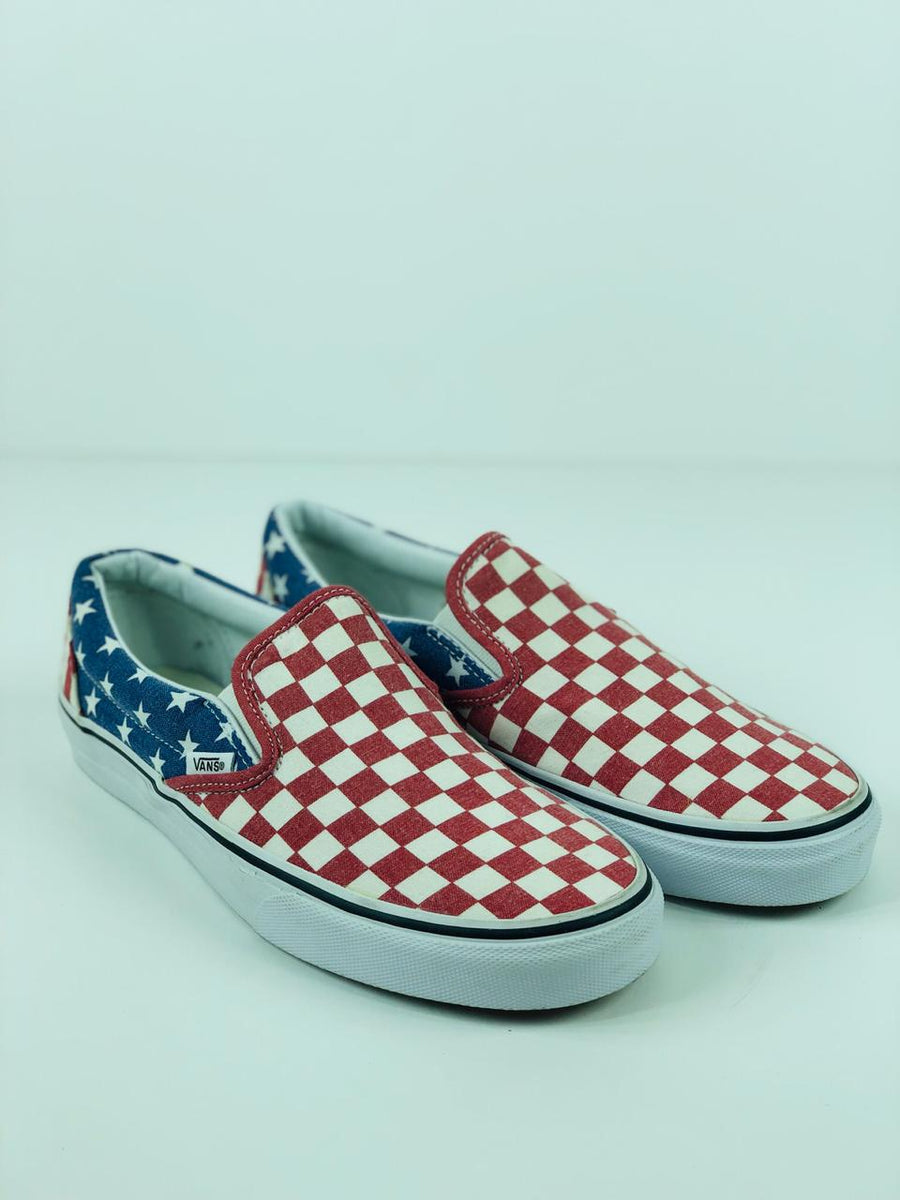 9c9a7c3f1f Vans Classic Slip-On (Van Doren) Stars Stripes Checkers American