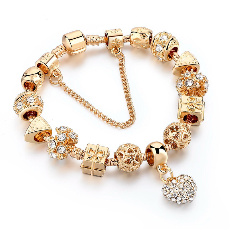 Luxury Crystal Heart Charm Bracelets & Bangles Gold Women ...