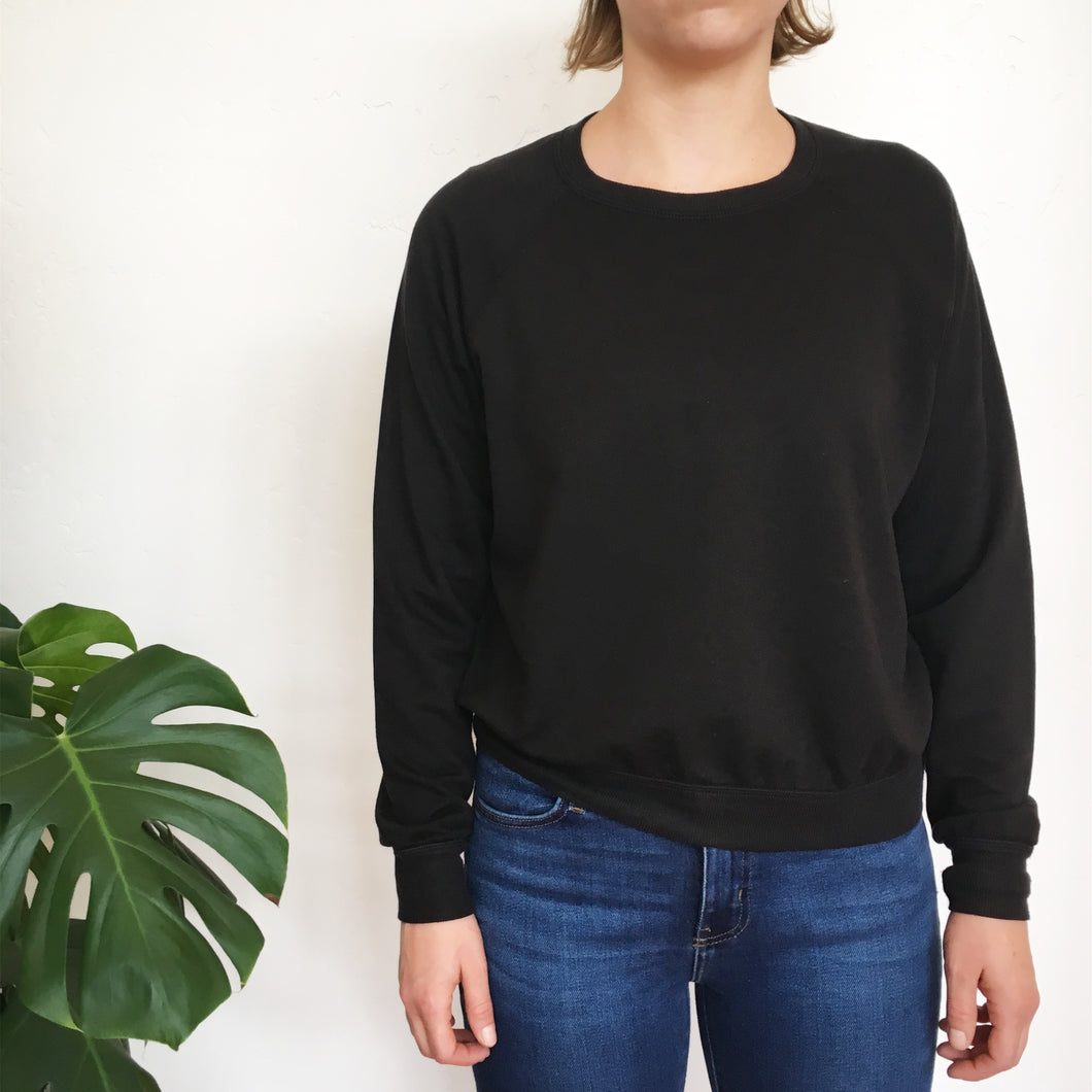 The TENCEL Cropped Sweatshirt in Black -- Back Beat Rags