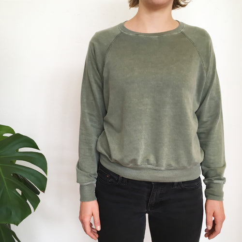 The TENCEL Cropped Sweatshirt in Sage -- Back Beat Rags