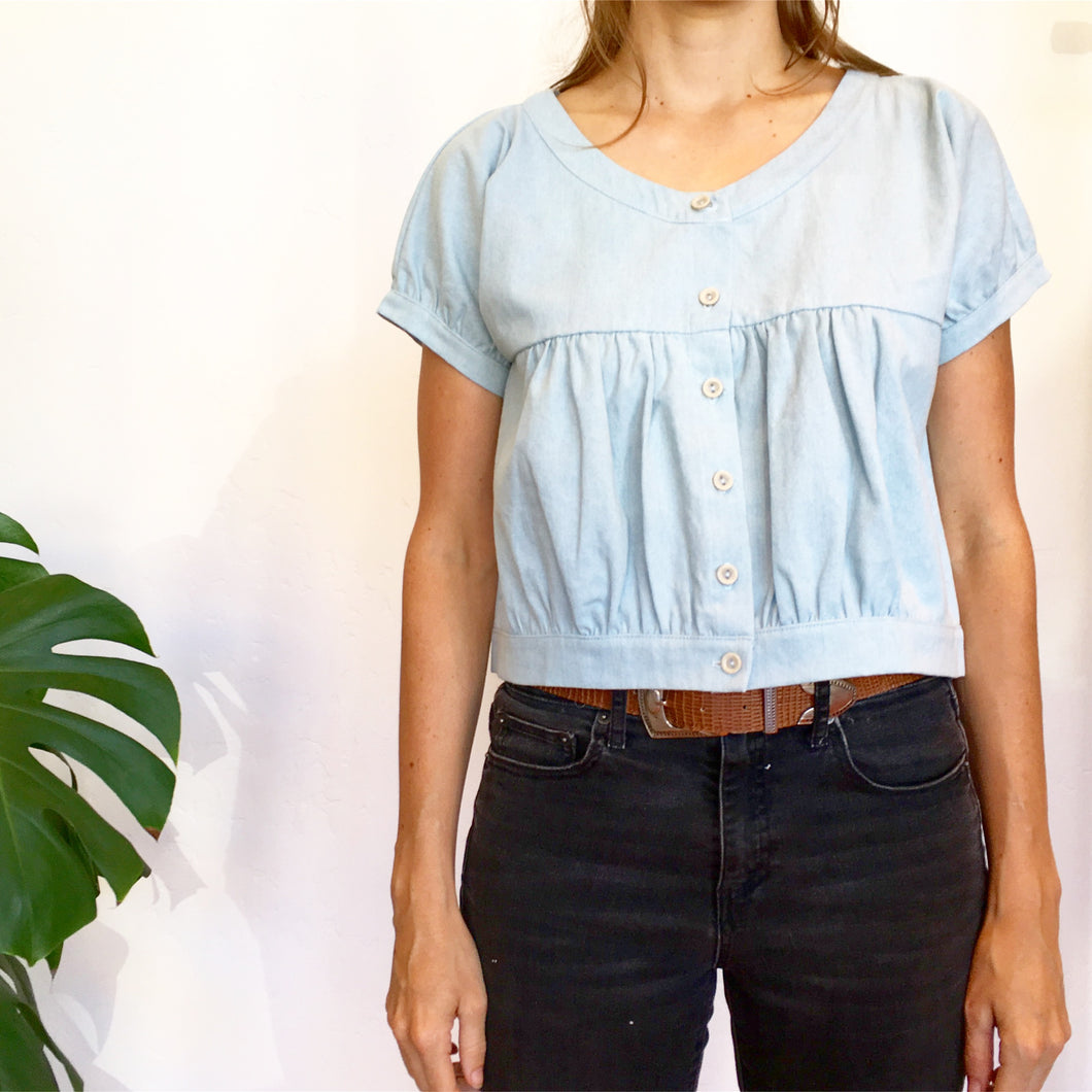The HAVEN Top in Washed Denim -- Neve & Hawk
