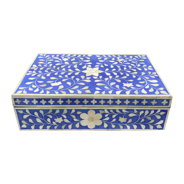 Sky Blue Flower Bone Inlay Box