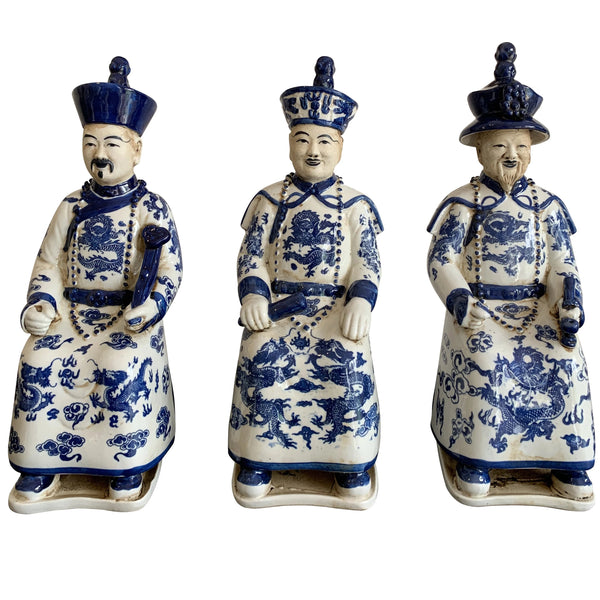 Blue and White Ceramic Chinese Emperors (Sitting)