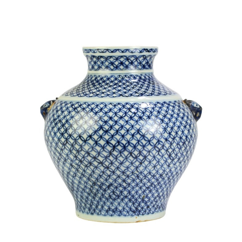Blue and White Ceramic Ancient Treasure Water Pot