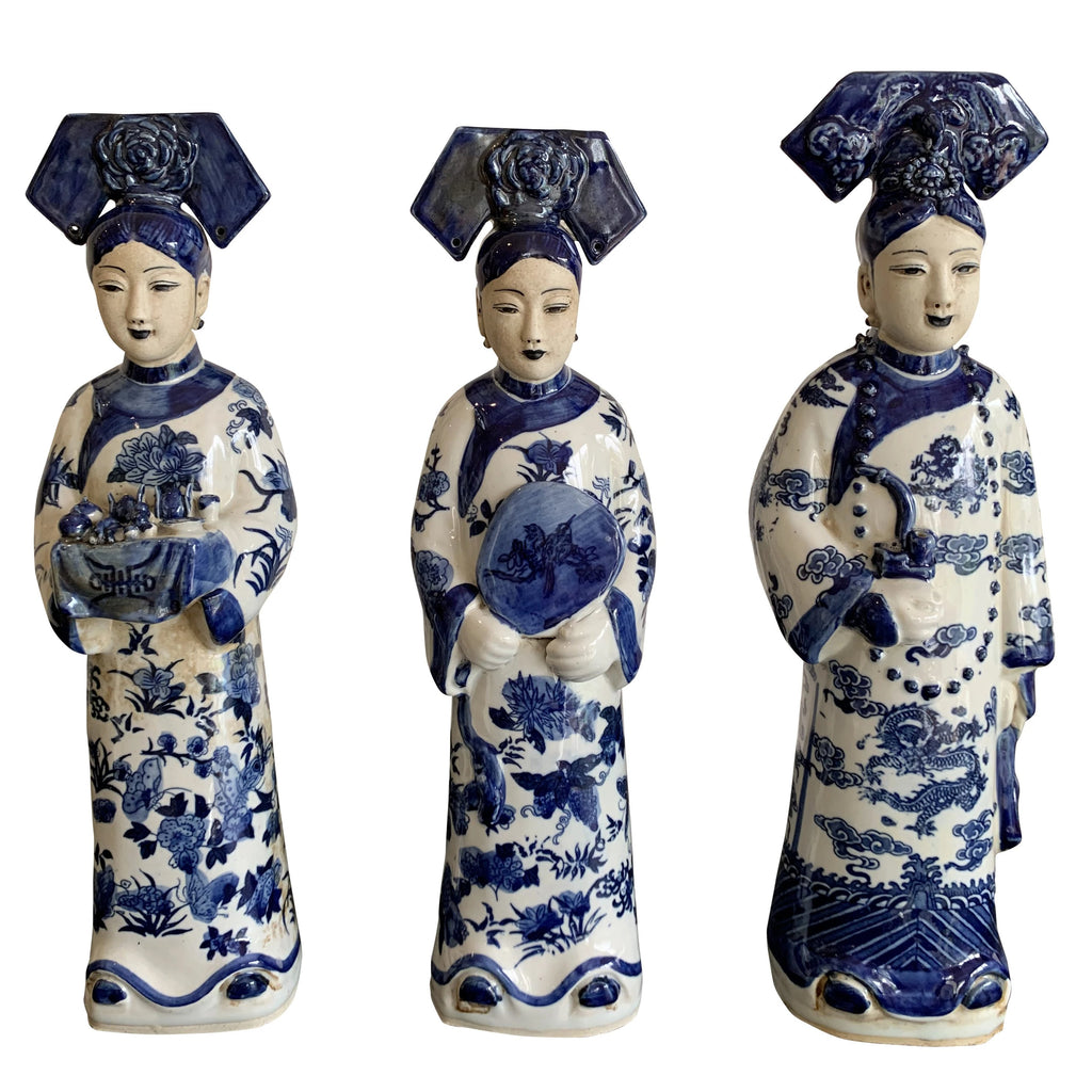 Blue and White Ceramic Chinese Queens