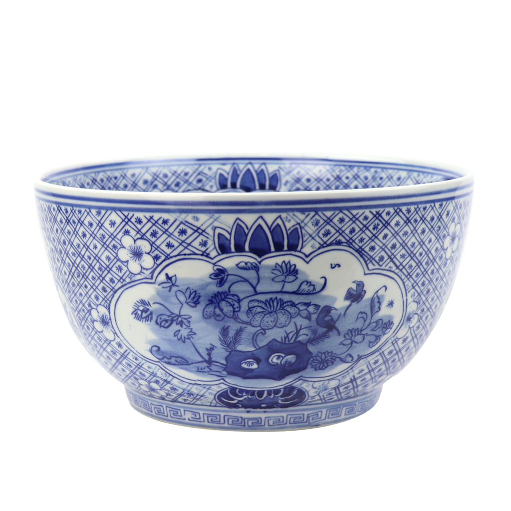 Traditional Blue and White Ceramic Floral Design Bowl