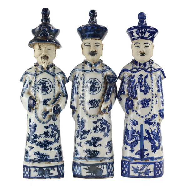 Blue and White Ceramic Chinese Emperors (SET OF THREE)