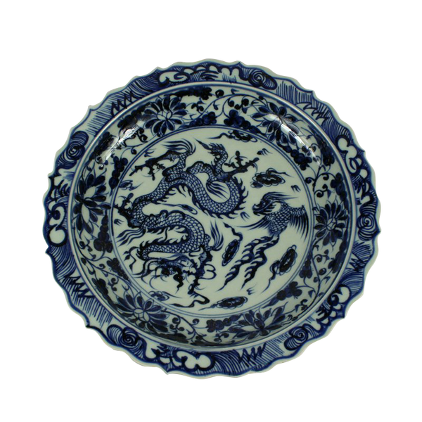 Blue and White Ceramic Dragon Plate (with stand)