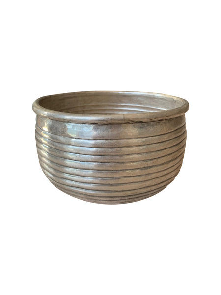 Ribbed Brass Pot (Silver finish)