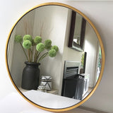 Simple Brass Finish Round Mirror