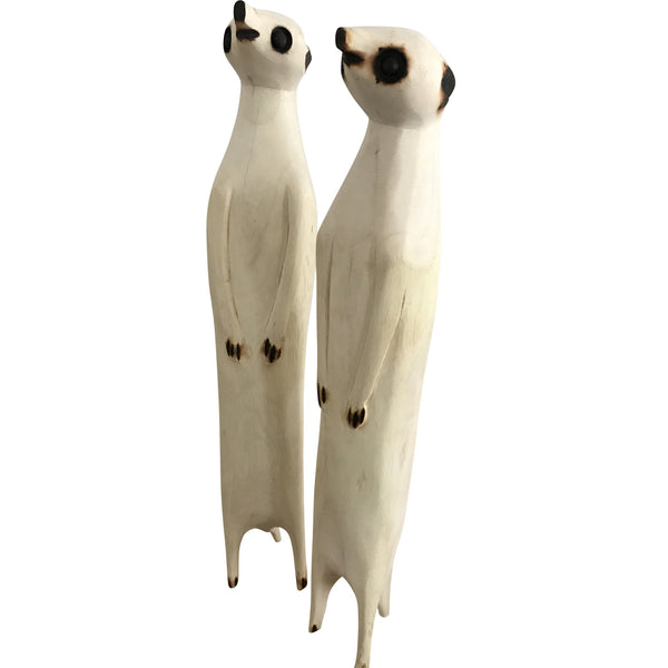 Hand Carved Wooden Meerkats