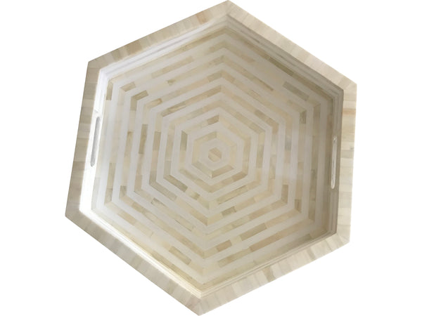 White Hex Bone Inlay Tray