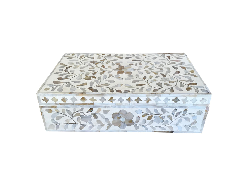 White Mother of Pearl Inlay Box