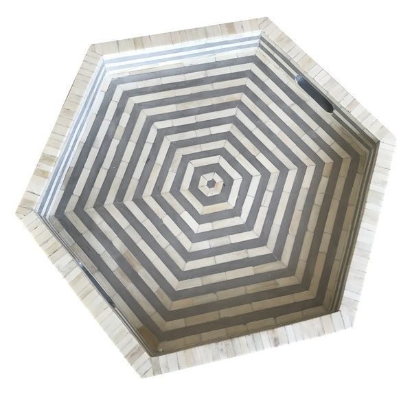 Grey Hex Bone Inlay Tray