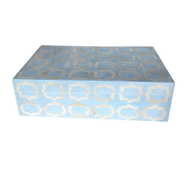 Ice Blue Moroccan Pattern Bone Inlay Box