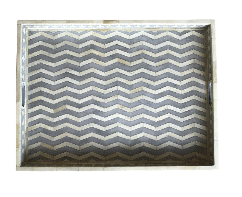 Large Grey Rectangle Chevron Pattern Bone Inlay Tray