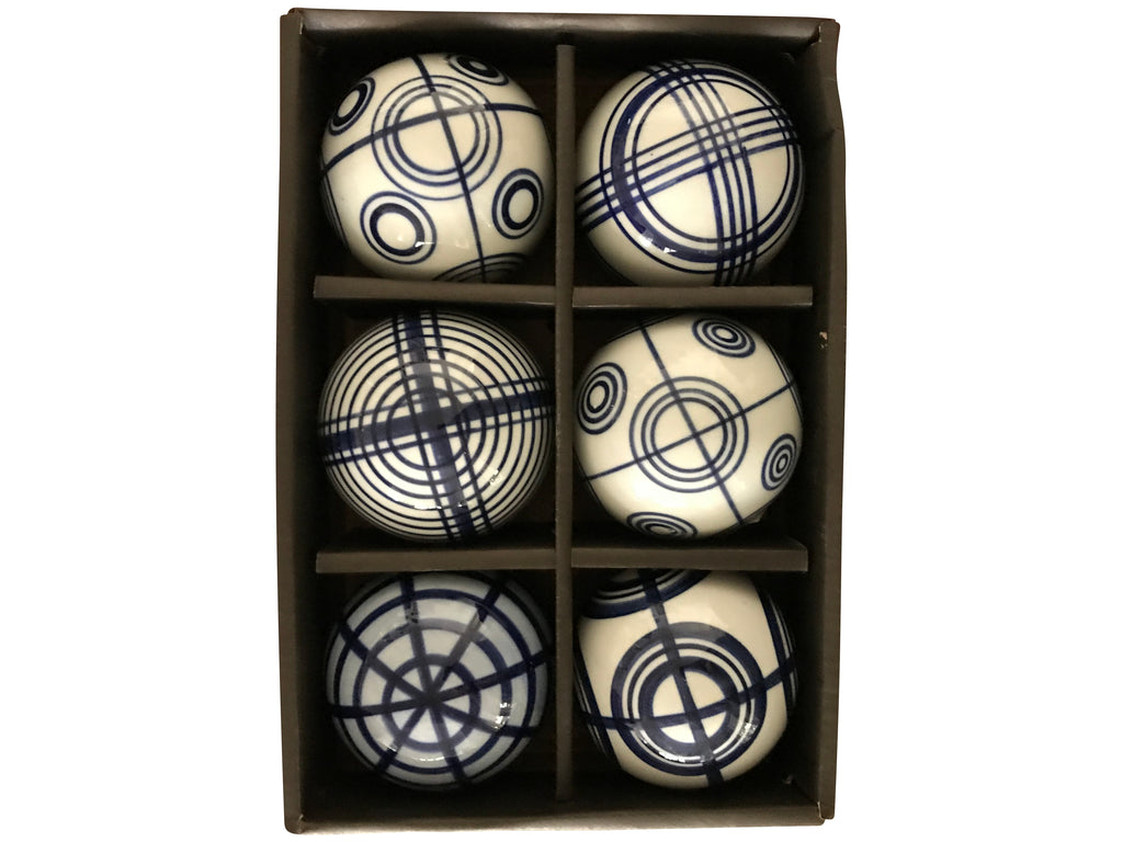 Blue and White Stripe Ceramic Decorative Balls (set of 6)