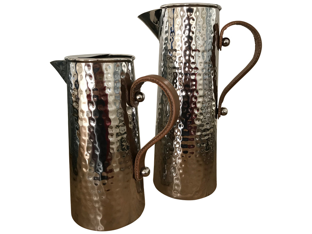 Stainless Steel Hammered Jug with Leather Handle