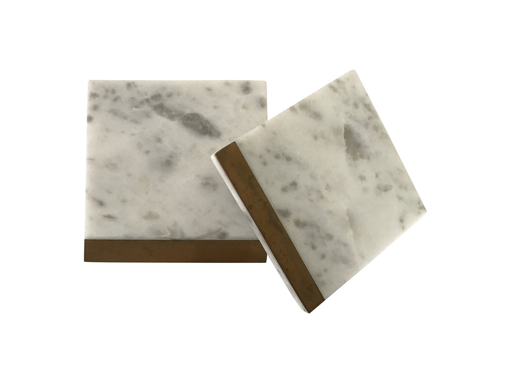 Marble and Brass Coasters (Set of 4)