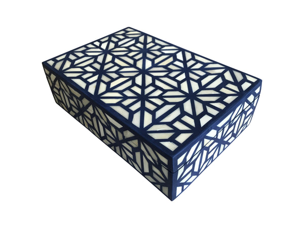 Navy Blue Bone Inlay Box