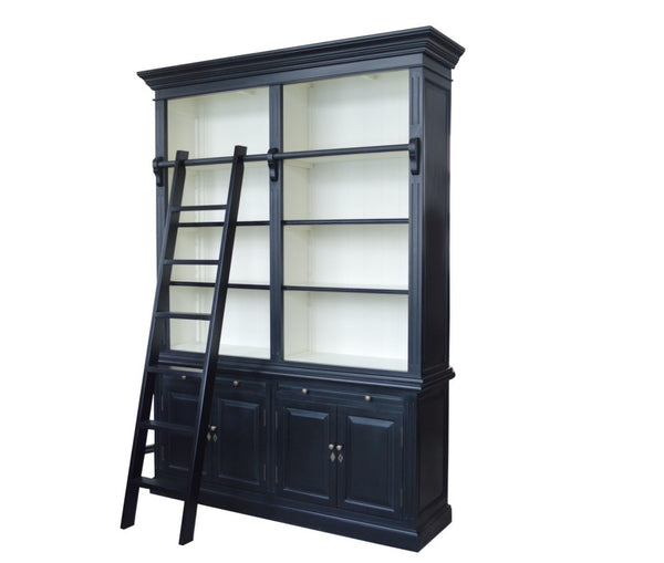Black and White Book Shelf with Ladder (Double)